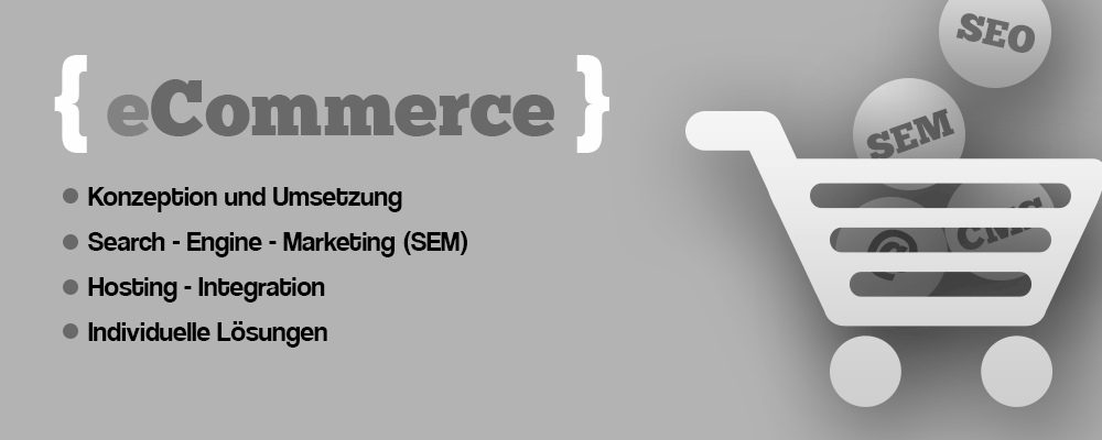 eCommerce (Shop) - Konzeption und Umsetzung, Search-Engine-Marketing (SEM), Hosting-Integration, Individuelle Lösungen